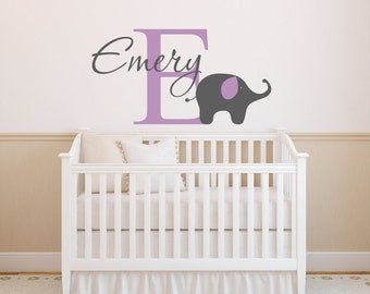 Elephant Wall Decal Personalized Name Decal With Elephant Nursery Decor Vinyl Wall Decal Elephant Decal
