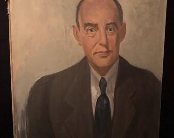 c.1950 Acrylic On Canvas Portrait Study Painting ADLAI STEVENSON Alfred James Dewey