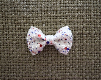 4th of July White Glitter TINY Alligator Clip Little Bow for Newborn Baby Child Little Girl Photo Prop Adorable Photo Red White Blue Bow