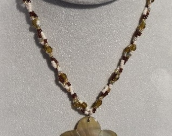 Two Strand Beaded Necklace with Seashell Pendant