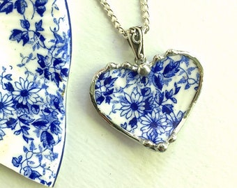 Broken china jewelry - heart pendant necklace - antique fine bone china, porcelain, floral, Shelley dainty blue, Dishfunctional Designs