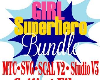 SVG Cut File Super Hero GIRL Bundle Saying Quote Boy or Girl  MtC SCAL v2 Silhouette Cricut Cutting Files