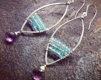 Apatite and Amethyst Earrings