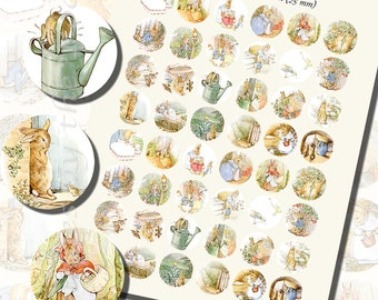 Beatrix Potter's Peter Rabbit Printables, ONE INCH CIRCLES (25 mm), with 1/2 inch  (13mm)  and 3/4 inch (20mm) circles also included