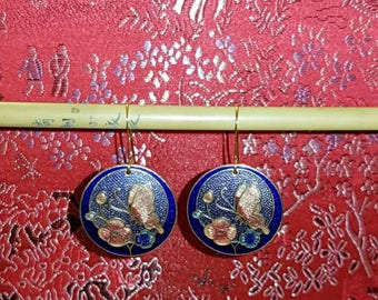 Beautiful cloisonne floral and butterfly earrings