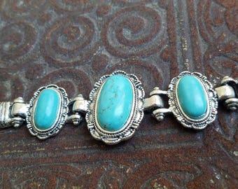 Western Style Blue Turquoise Howlite Bracelet