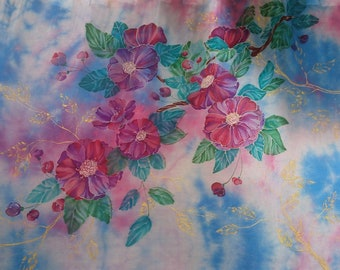 Hand painted silk scarf Floral scarf Blue pink green gold Hand painted shawl Blue scarf Camellias Scarves for women