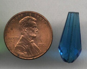 Vintage CZECHOSLOVAKIA Hand Cut Glass Drops Prisms GABLONZ BOHEMIA Turq 6 Pcs
