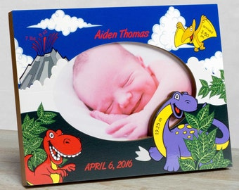 Personalized Baby Picture Frame, Baby Boy Picture Frame, New Baby Boy Frame, Baby Frame For Boys, Baby Boy Birth Frame, Dinosaur Baby Frame