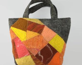 Felt handbag, patchwork bag, wet felted bag, womens fashion, fashion bag