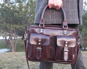 Leather laptop bag men's messenger bag leather satchel women's computer bag mens leather bag camera bag 13 laptop bag  leather business bag