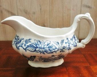 """Vintage  Sauce boat Ridgway est 1792 Staffordshire England""""Pagoda"""" transferware-Vintage Saucière Anglaise blanche et bleu"""