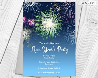 Personalised New Years Eve Party Celebration Invitations | Digital / Printable DIY PDF File Download