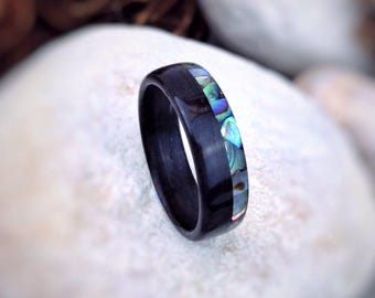 Dark Siren - Ebony & Abalone Offset Band Bent Wood Ring - Made to order - All US and UK Ring Sizes