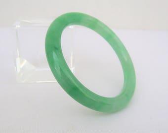 Vintage Translucent Green Jadeite Jade Bangle Bracelet 48.5MM