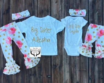 Big Sister Little Sister Outfits, Baby Girl Coming Home Outfit Set,Leggings Hat,Headband, Ruffle Leggings,Gold and Pink