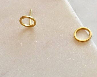 Gold Stud Earrings Circle Earrings Gold Earrings Geometric Earrings Minimalist Earrings Birthday Gift For Her Round Earrings