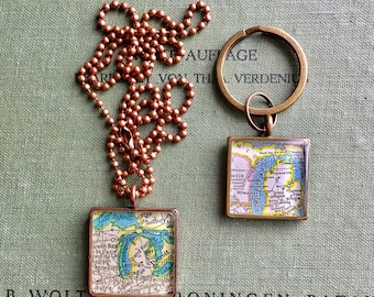 Graduation Gift Map Pendant Square Silver Map Pendant Handmade