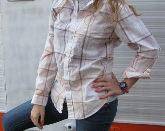 Plaid shirt - unique distressed bleached dipped recycled - vintage worn style - Size S (men's / unisex) (#S52)