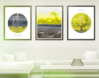 Meditation gift print - Breathing in Breathing out - meditation gift - Mindfulness gift - Set of 3