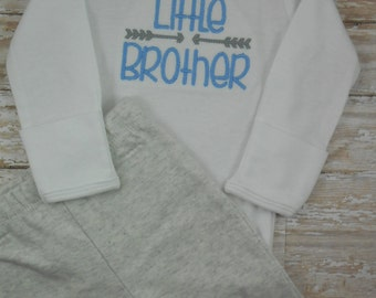 Baby boy, coming home outfit, take home outfit, Baby boy clothes, newborn, Little Brother, embroidered, bodysuit, pants, baby boy, hospital
