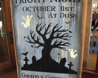 ANNUAL FRIGHT NIGHT primitive wood sign halloween