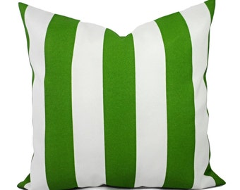 Two Outdoor Pillow Covers - Striped Pillow Cover - Deck Pillow - Outdoor Pillows - Water Resistant Pillow - Patio Pillow - Green Pillow