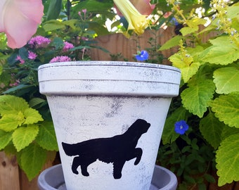 Painted Flower Pot - English Setter Gift - Dog Lover Gift - English Setter Breed