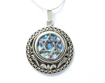 Unique Necklace, 925 Sterling Silver Judaica, Ancient Roman Glass Bold Magen David , Magen David Star of David, Israel Jewelry