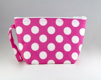 Pink Polka Dot Makeup Bag - Accessory - Cosmetic Bag - Pouch - Toiletry Bag - Gift