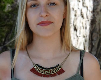 Burgundy fringe bib necklace / marsala