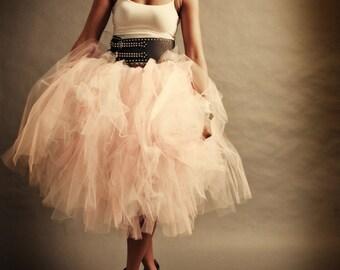 Womens Tulle Skirt Adult Tutu Pink Tulle Skirt Shabby Chic Pink Cocktail Length Skirt