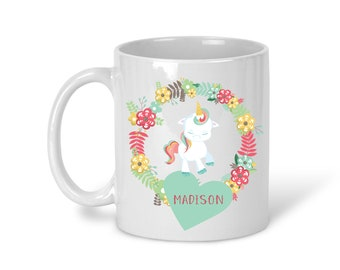 Kids Personalized Ceramic Mug - Unicorn Floral Green Heart with Name, Child Personalized Mug, Colored Rim and Handle, Color Heat Reactive