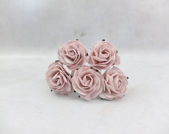 5 35mm mulberry paper raspberry pale mauve roses - 3.5 mauve paper flowers (style 1)