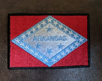 State of Arkansas Flag Iron On Patch 3 x 2 inch Free Shipping (Medium)