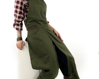 Full Overlapping Split-Leg Apron - Pottery Cross-Back Apron - Moss Green Twill - Leather Reinforcement