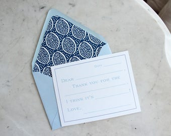 fill in the blank notecards / children's thank you cards for boys -- light blue and navy