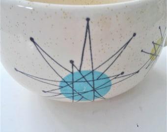 ON SALE Vintage Franciscan Cups Atomic Age 1950's Blue Starburst Design Mid Century Modern Kitchen