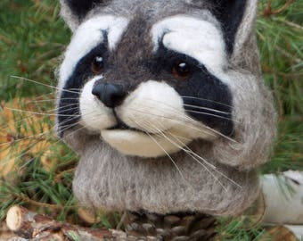 Needle Felted One of a kind Wool Faux Taxidermy Raccoon Soft Sculpture by Bella McBride of McBride House