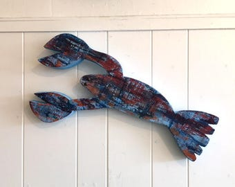 Recycled Red Navy Wooden Lobster Beach Wall Hanging