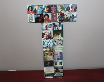 """Home Decor, 24"""" Wooden Letter, Personalized Initial, Wall Hanging Photo Collage"""