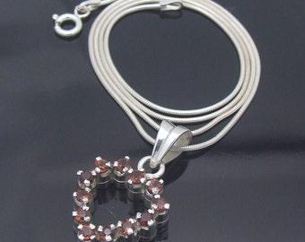 Vintage Heart Necklace, Garnet Heart Necklace, January Birthstone Jewelry, Garnet Heart Sterling Silver Pendant, Snake Chain, Petite Heart
