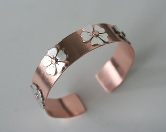 Copper Cuff, Copper Bracelet, Copper Jewelry, Silver Flowers, Flower Bracelet, Rustic Jewelry, Metalwork, Natural Copper, Handmade Cuff