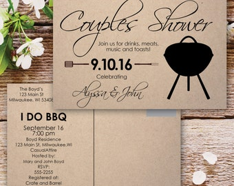Couples Shower Invitation | I Do BBQ Couples Shower Invitation | Rustic Co-ed Shower | Shabby Chic | Drinks, Meats, Music, Toasts | Grilling