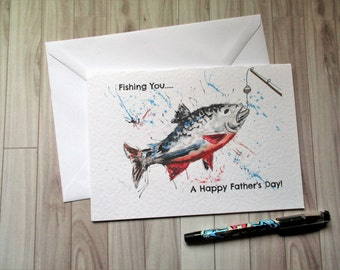 Fishing Father days card - fathers day greeting card - fishing card - fishing you - dad joke card