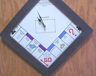 Upcycled Monopoly Clock ~ Game Room Clock ~ Fun Clock