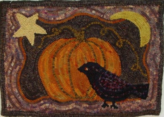 "Rug Hooking PATTERN, Crow and Pumpkin, 14"" x 20"", J710, Halloween Pattern, Autumn Rug Hooking"