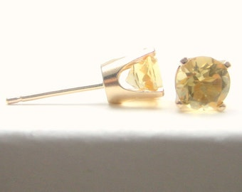 Citrine 14K Gold Stud Earrings - Gold Earrings - 3 mm 4 mm 5 mm - Post Earrings - Citrine Earrings - Birthstone Earrings - Solid 14K Gold