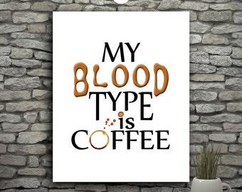 Coffee Printable Wall Art, Typography Poster Kitchen Wall Decor Dorm, Modern Poster, Coffee Art, Downloadable Art, Coffee Print Coffee Lover