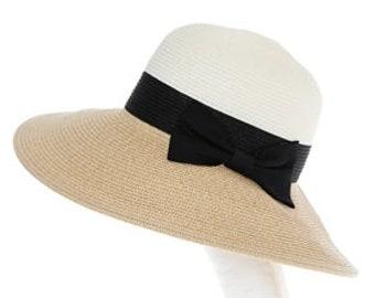 Personalized Colorblock Black Ribbon Bow Sun Hat